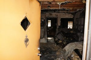 Extensive home interior fire damage.