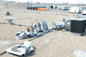 Rooftop equipment damaged by vandalism.